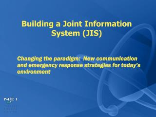 Building a Joint Information  System (JIS)