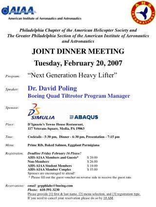 Philadelphia Chapter of the American Helicopter Society and