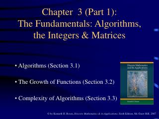 Chapter  3 Part 1: The Fundamentals: Algorithms, the Integers  Matrices