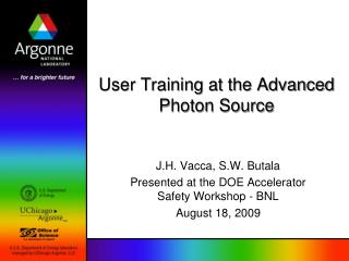 User Training at the Advanced Photon Source