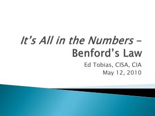 It's All in the Numbers  - Benford's  Law