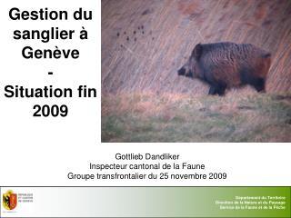 Gestion du sanglier à Genève -  Situation fin 2009