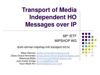Transport of Media Independent HO Messages over IP