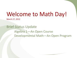 Algebra 1�An Open Course