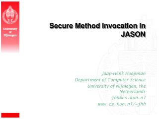 Secure Method Invocation in JASON