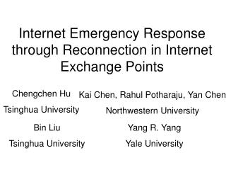 Internet Emergency Response through Reconnection in Internet Exchange Points