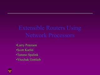Extensible Routers Using Network Processors