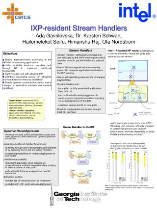 IXP-resident Stream Handlers Ada Gavrilovska, Dr. Karsten Schwan,