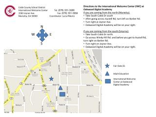 Directions to the International Welcome Center (IWC) at Oakwood Digital Academy