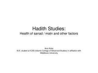 Hadith Studies: Health of sanad