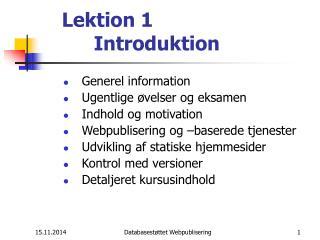 Lektion 1  Introduktion