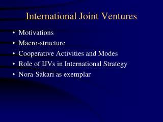 International Joint Ventures