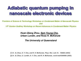 Adiabatic quantum pumping in nanoscale electronic devices