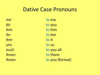 Dative Case Pronouns