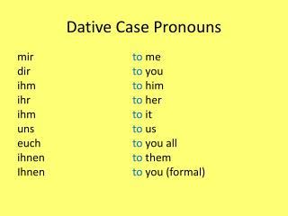 Dative Case Pronouns