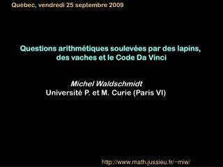 Questions arithmétiques soulevées par des lapins,  des vaches et le Code Da Vinci