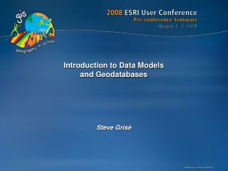 Introduction to Data Models  and Geodatabases
