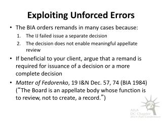 Exploiting Unforced Errors