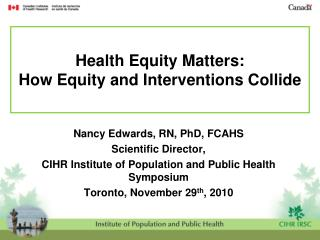 Health Equity Matters:   How Equity and Interventions Collide
