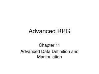 Advanced RPG