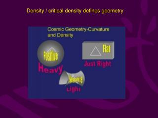 Density / critical density defines geometry