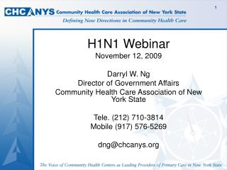 H1N1 Webinar  November 12, 2009 Darryl W. Ng Director of Government Affairs