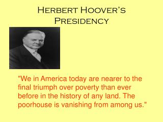 Herbert Hoover's Presidency