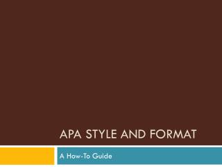 APA Style and Format