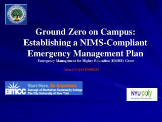Ground Zero on Campus: Establishing a NIMS-Compliant Emergency Management Plan