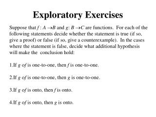 Exploratory Exercises