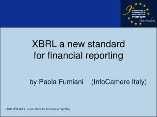 XBRL a new standard  for financial reporting