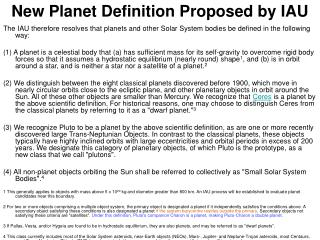 New Planet Definition Proposed by IAU