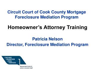 Circuit Court of Cook County Mortgage Foreclosure Mediation Program