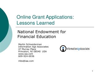 Online Grant Applications:  Lessons Learned