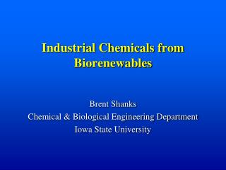 Industrial Chemicals from Biorenewables
