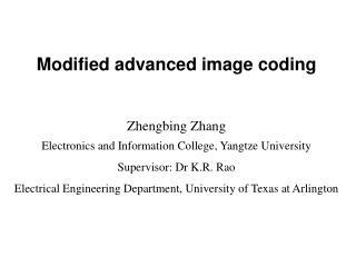 Modified advanced image coding
