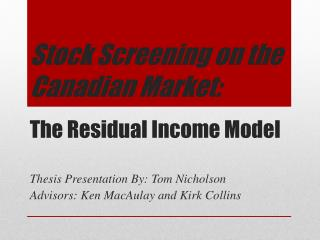 The Residual Income Model