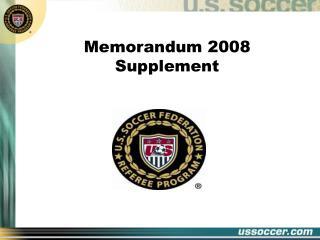 Memorandum 2008 Supplement