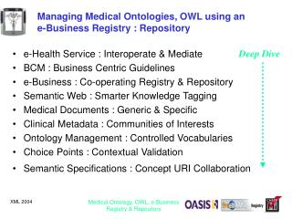 Managing Medical Ontologies, OWL using an  e-Business Registry : Repository
