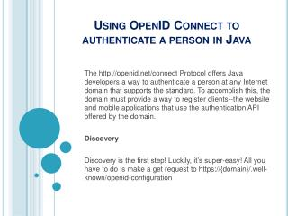 Using OpenID Connect to authenticate a person in Java