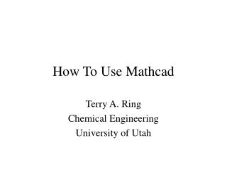 How To Use Mathcad