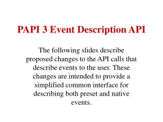 PAPI 3 Event Description API
