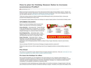 How to plan for Holiday Season Sales to increase ecommerce P