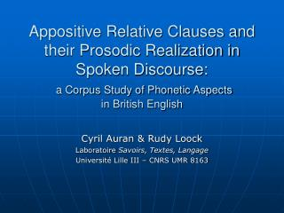 Cyril Auran & Rudy Loock Laboratoire  Savoirs, Textes, Langage