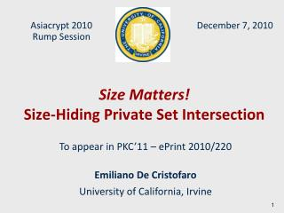 Size Matters! Size-Hiding Private Set Intersection