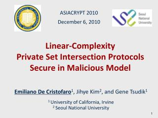 Linear-Complexity Private Set Intersection Protocols Secure in Malicious Model