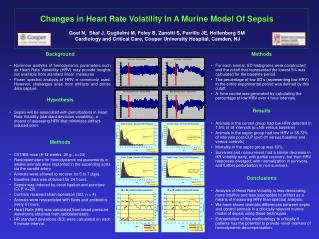 Changes in Heart Rate Volatility In A Murine Model Of Sepsis