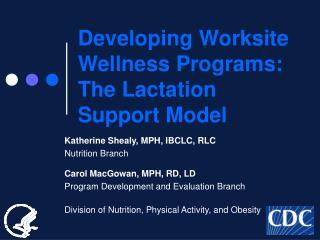 Developing Worksite Wellness Programs:  The Lactation Support Model