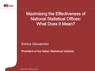 Enrico Giovannini President of the Italian Statistical Institute