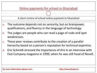 A useful report of online payment for school in Ghaziabad
